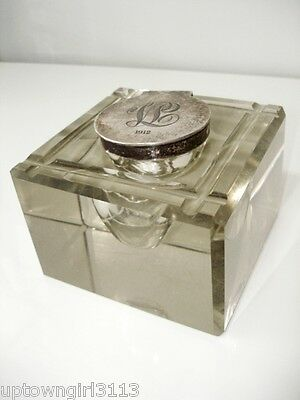 ANTIQUE sterling silver inkwell 1907 JOHN COLLARD VICKERY glass LONDON JCV 5lbs.