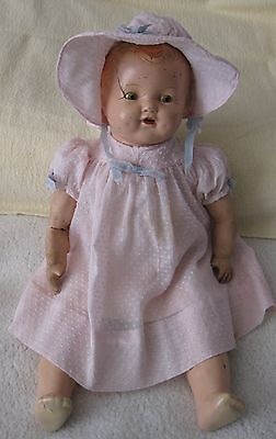 Antique Signed Ideal Tin Sleepy Eyes Open Mouth Composition Baby Doll