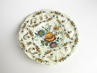 Giant Vintage Delft Hand-Painted Polychrome Cutout Plate