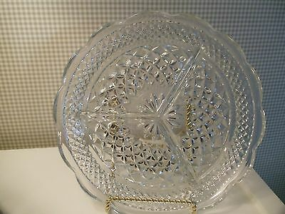 """Vintage Anchor Hocking WEXFORD Clear Glass 8 1/2"""" Divided 3 Part RELISH DISH"""