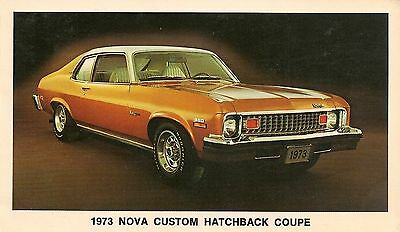 1973 Chevrolet Nova Custom Hatchback Coupe Advertising Postcard