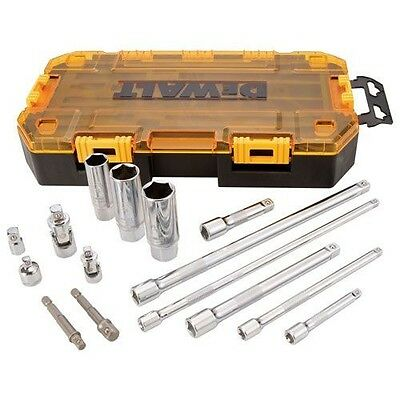 "Dewalt 15 Piece 1/4"" and 3/8"" Drive Socket Set Accessory Tool Kit"