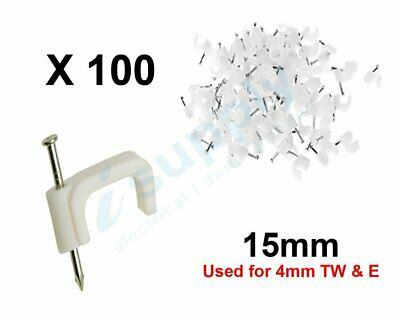 100 Pack Cable Clips with Nail 15mm Flat WHITE – Good For 4mm Twin And Erath