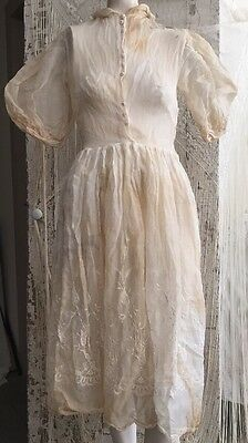 Victorian Sheer Cotton Floral Embroidered Day Dress Tea Party Edwardian Corn VTG