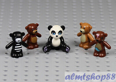 LEGO - Teddy Bear & Panda Lot - Brown Black White Stuffed Animal Pet Minifigure