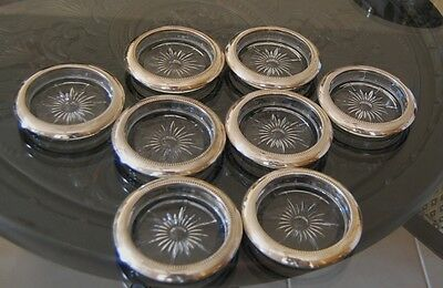 LEONARD CRYSTAL SILVER PLATE COASTERS LOT OF 8 VINTAGE ITALY