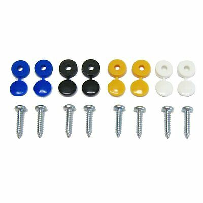 8 Pack Number Plate Screw Cap Fitting Fixing Blue Black Yellow White Set Kit