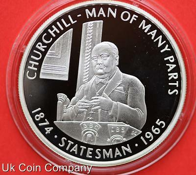 2005 FALKLAND ISLANDS CHURCHILL STATESMAN SILVER PROOF 50p FIFTY PENCE COIN