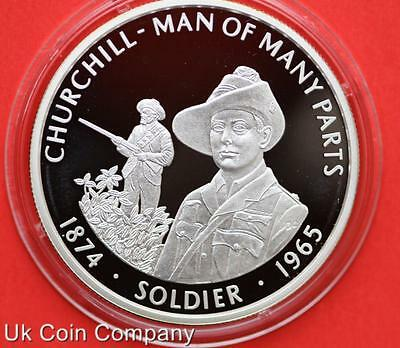 2005 FALKLAND ISLANDS CHURCHILL SOLDIER SILVER PROOF 50p FIFTY PENCE CROWN COIN