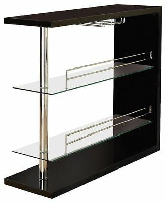 Bar Table with Two Shelves and Wine Holder in Gloss Black by Coaster 100165