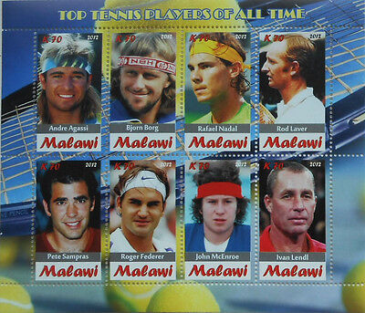 Top Tennis Players of All Time  m/s Malawi 2012 MNH  #H071