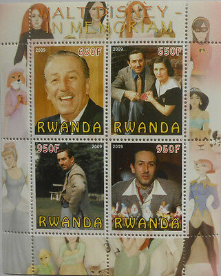 Walt Disney in memoriam / cartoon artist m/s Rwanda 2009 MNH #F454