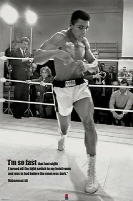 (LAMINATED) Muhammad Ali Boxing POSTER (61x91cm) I'M So Fast Picture Print New