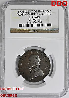 1791 1/2 Half Penny Great Britain NGC VF-25 BN E Plain Doubled Die Obverse & Rev