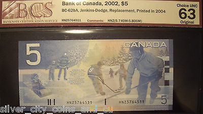 Canada BC-62bA 2004 $5 Replacement HNZ5764511 - BCS ChUnc 63