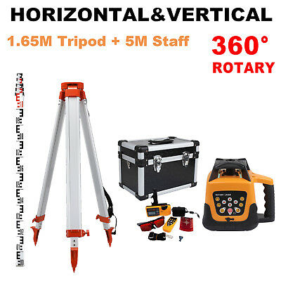 Fully Automatic Self-Leveling Red Beam Rotary Laser Level Kit w/Remote Control
