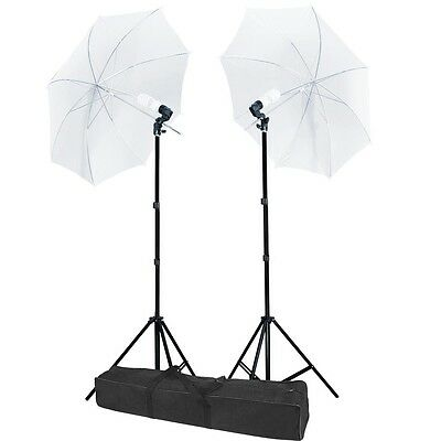 """2 x 33"""" White Umbrella Continuous Lighting Photography Light Stand Kit Carry Bag"""