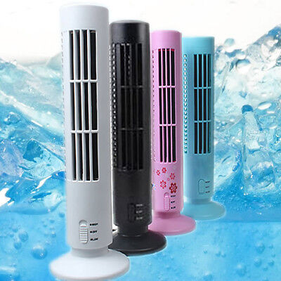 Portable USB Tower Fan Cooling Bladeless Air Conditioner No Leaf For PC Laptop