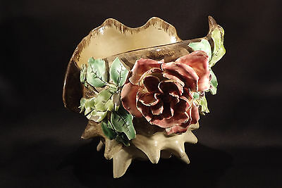 Rare French Longchamps Schell Form Planter with Roses