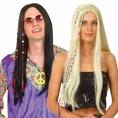 Adult Mens Ladies 60s Groovy Cool Hippie Hippy Fancy Dress Wig Accessory New
