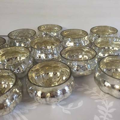 NEW Set of 12 Silver Mercury Glass Pumpkin Tea Light Holders Wedding Home Decor