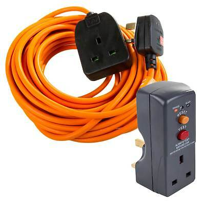 Masterplug 10M Garden Mains Extension Lead Cable 10A Lawn Power & RCD Adaptor