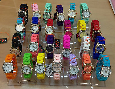 Joblot of 25 Brand New Ladies/Girls Silicon Jelly Rubber Strap Bracelet Watches