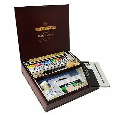 Daler Rowney Artists Quality Watercolour Tube Wooden Box - Large