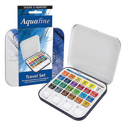 Daler Rowney Aquafine Water Colour Travel Set 24 Colours with Mini Brush