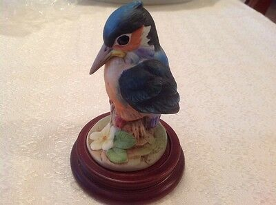 Kingfisher by Andrea with wooden base