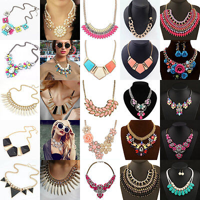 Charm Vintage Crystal Bib Chain Statement Chunky Collar Pendant Necklace Party