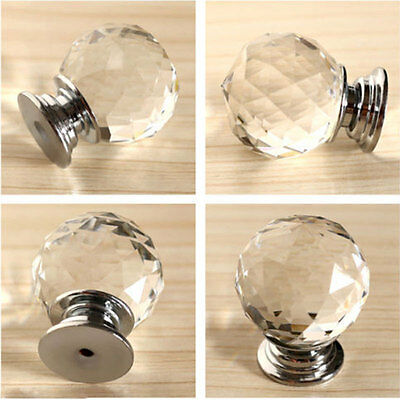 Round Diamond Clear Crystal Glass Door Pull Drawer Knob Handle Cabinet Furniture