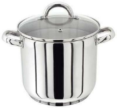 Horwood Pp84 Stainless Steel Deep Stock Pot 28Cm Stockpot With Glass Lid 13L