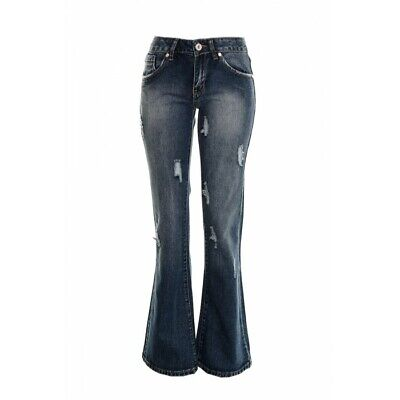 Women's Kick Flared Retro Bell Bottom Boot Cut 60's 70's Jeans Distressed Stone