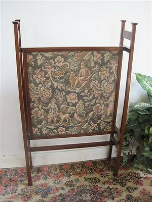 Vintage Mission Style Fire Screen Needlepoint Tapestry & Mahogany Wood Quality