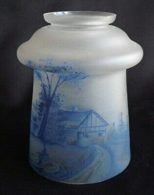French Victorian Painted Blue Crystal Chandelier Globe Tulip Lamp Shade
