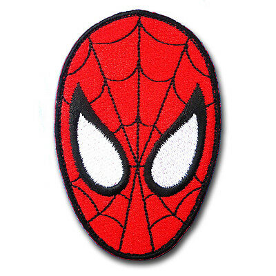 Spiderman Head Super Hero Cartoon Patch Applique Embroidered Iron on Marvel Mask
