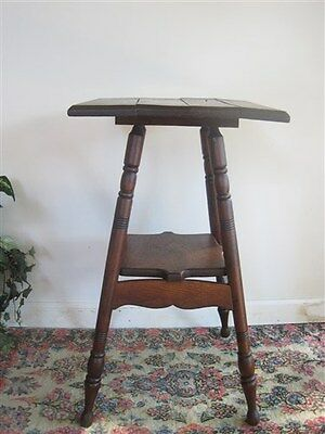 Vintage Oak Plant Stand Hall Table 2 Shelves Old Rustic Look Quality Antique