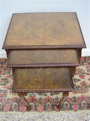 Beautiful Vintage English Burl Walnut Set of 3 Nesting Tables Quality Old Pieces