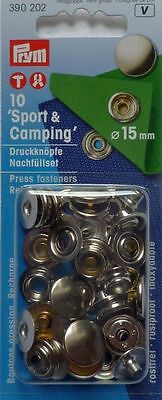 Prym 10 Poppers Sport Camping 15mm silver Refill 390202