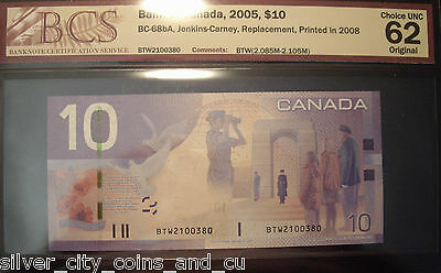 Canada 2008 BC-68bA $10 Replacement  BTW2100380 - BCS ChUnc-62