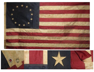 3x5 Embroidered Sewn Vintage Tea Stained Betsy Ross 210D Nylon Flag Grommets