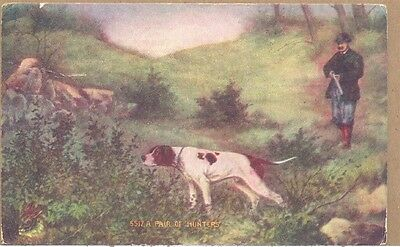 1909 Pair of Hunters Man with Rifle Pointer Dog PC