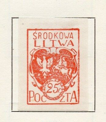 Central Lithuania 1920 Early Issue Fine Mint Hinged 25p. Imperf 134583