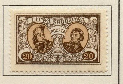 Central Lithuania 1921 Early Issue Fine Mint Hinged 20m. 134622