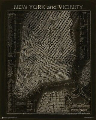 VINTAGE NYC MAP Of New York City & Vicinity Wall Art Print Chart NEW Licensed