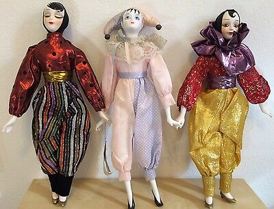 "Lot 3 Vintage Porcelain Musical Collection VTG Harlequin Dolls 17"" HERITAGE"