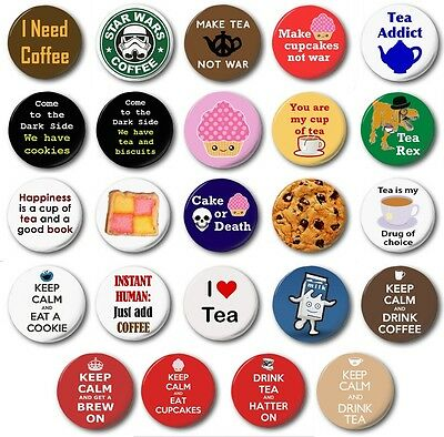 """TEA COFFEE & CAKE (Various Designs) - 1"""" / 25mm Button Badge - Novelty Biscuits"""