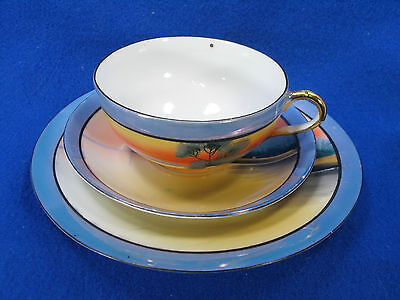 #3 HANDPAINTED MADE IN JAPAN LUSTER CUP, SAUCERS & PLATE cream blue