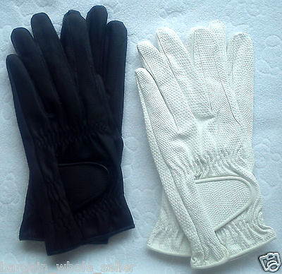 Mens Horse Riding All Weather Leather Equestrian White & Black Gloves